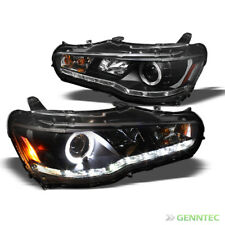 For 08-15 Lancer/EVO X 10 DRL LED Halo Blk Projector Headlights Lamp Pair New