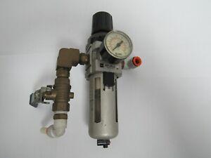 "SMC NW3000-N03BG-X64 AIR FILTER REGULATOR W/3/8"" SHUT OFF VALVE"