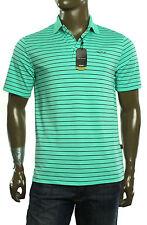 New Mens Greg Norman Vive Iron Play Dry Bermuda Mint Stripe Golf Polo Shirt S