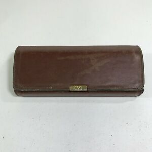 Vintage Valentino Glasses Case Smooth Brown Leather Snap Flap