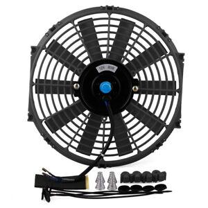 "12"" Universal Slim Electric Radiator Cooling Fan Push Pull 12V 80W Mounting Kits"