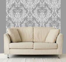 Medina Blanco y plata metálica color Damasco Característica Papel Pintado DEBONA 4001