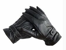 US Black One Pair Men's Leather Winter Super Driving Warm PU Gloves Fashion