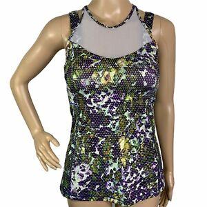 Lululemon Green Purple Mesh Panels Straps Activewear Fitness Tank Top Womens 4