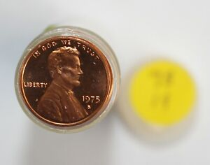 1 Roll 1975 S Lincoln Proof Pennies 1c US Coins San Francisco Mint 50 Coins