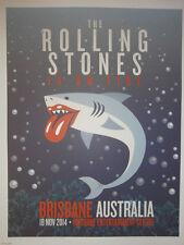 Rolling Stones 14 on fire tour 2014 lithograph poster  - brisbane   australia