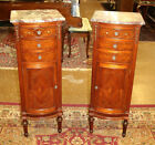 Stunning Pair of French Marble Top Inlaid Nightstand Lingerie Chests Circa 1920