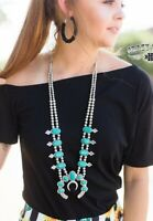 Miss Squash Blossom Necklace by Crazy Train - Simulated Turquoise Silvertone NWT