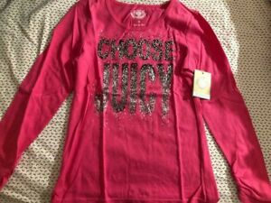 New With Tag Juicy Couture Girls Long Sleeve T-Shirt Pink Size 10 Years