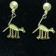 "18K Peru Nazca Lines monkey or dog earrings 28mm x17mm 3.24 grams, over 1"""