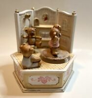 Vintage Ceramic Music Box Teddy Bears Dancing Playing Mini Room Japan Sankyo