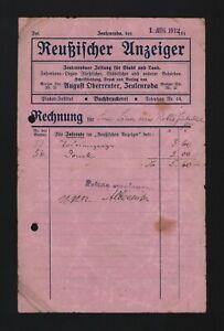 ZEULENRODA, Rechnung 1912, Reussischer Anzeiger August Oberreuter