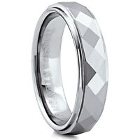 Men's 6mm Wide Tungsten Carbide Band Comfort Fit Ring Triangle Cuts - TCR021