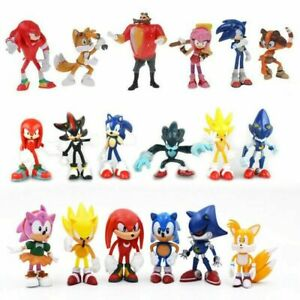 6PCS Sonic The Hedgehog Knuckles Topper Kids Action Figures Cake Decor Toy Gift