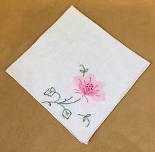 Vintage Ladies Hanky Or Thin Napkin, Appliqué Flower, Leaves, White, Pink