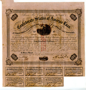 1863 $100   Confederate Bond Only Number Issued C.600