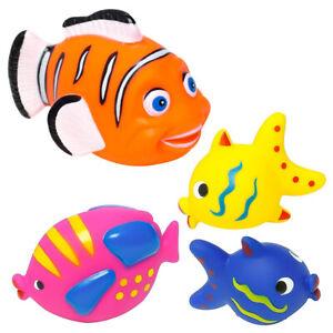 4er Set Badespielzeug Fische Badefiguren Baby Kinder Badewannen Wasser Spielzeug