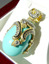 SALE ! BEAUTIFUL STERLING SILVER 24K GOLD GENUINE TURQUOISE RUSSIAN  EGG PENDANT