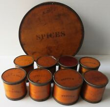 Primitive ANTIQUE SHAKER  ROUND PANTRY SPICE BOX W/ 8 ROUND SPICE BOXES 1800s