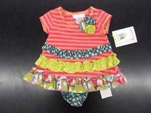 Infant Girls Bonnie Baby Coral or Aqua Dresses Size 3/6 Months - 24 Months