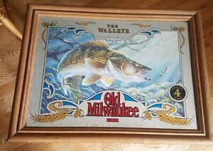 Old Milwaukee Beer Mirror Wildlife Series #4 THE WALLEYE
