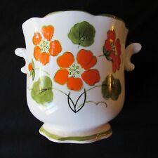 Hand Painted Planter Pot Flowers Vintage Mint Bold MOD Floral 7x 7 MCM Japan