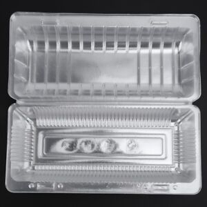 25PCS/SET Disposable Plastic Hinged Loaf Container Snacks Food Fruit Storage Box