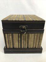 "Accents & Occasions Tan Striped Wooden Trinket Box Jewelry 6 1/2""x6 1/2""x 5 1/2"""