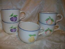 5 PFALTZGRAFF HOPSCOTCH FRUIT TEACUPS COFFEE MUGS