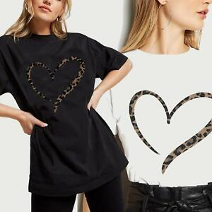 Ladies Oversized Leopard Print Heart T-Shirt Womens Summer Top Plus Size 8-28