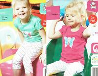 2er Pack Kleinkinder T-Shirt Leggings Kinder 100% Baumwolle Pink Öko-Tex Baby