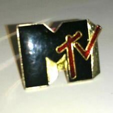 "MTV Logo VINTAGE PIN 1"" Heavy Metal Hard Rock button vtg 80's Classic TV Music"