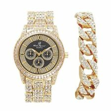 Mens Hip Hop Bling Bling Baguette Rhinestones Iced Out Gold Watch Band - 8704M G
