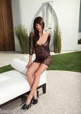 Black Lace Long Sleeve Mini Dress Chemise CrissCross Back One Size Shirley 90257
