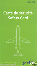 Safety Card - Jetsgo - F100 - Blue Print for A/C Type - 2004 (S1277) (Canada)