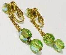 boucles d'oreilles clips couleur or bijou vintage perle cristal verte 2324