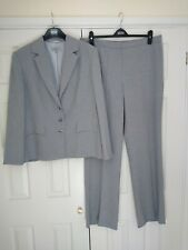 Marks And Spencer's Pale Grey Pinstripe Ladies Trouser Suit Size 20