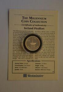 2000 Ireland £1 One Pound Silver Piedfort Millennium Coin COA