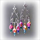 Earrings, Mother of Pearl rainbow chandelier crystal drop, Clip on Pierced