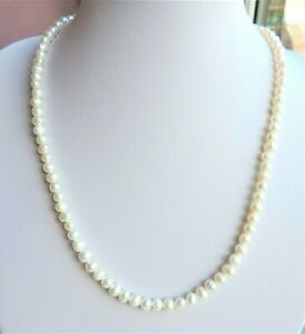 Cultured Pearl Necklace 96 x 5-6mm Pearls 19 inches Silver Clasp