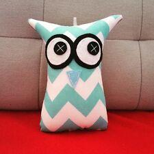 ❤️Owl Softies ❤️18cm Owls | Aqua Blue Chevron | Baby | Girls Boys | Gifts