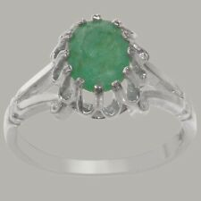 Solid 9ct White Gold Natural Emerald Womens Solitaire Ring - Sizes J to Z