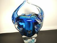 VTG.Boro Crystal Czs. Sommerso Royal Turquoise Blue-Cobalt Blue-Clear Bsket Vase