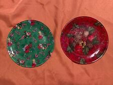 "Two Glass Christmas Plates 8"" Elves + Decor"