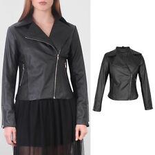 Women Biker Jacket Vintage Overcoat Side Zip Faux Leather Collared Coat UK 16