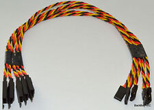 (5) 30CM Twisted 22awg Servo Extension Leads JR / Hitec w/ Built In Safety Clips
