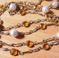 Unbranded Gold, Pearl, and Yellow Chain Necklace
