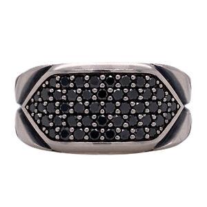 David Yurman Black Diamond Chevron Band Ring Men's Sterling Silver Size 10