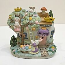 """Easter Porcelain """"Egg Factory"""" Lighted Building with Light Cord, Used no Box"""