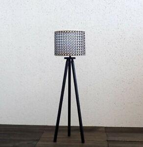 1/6 scale tripod floor lamp Black n Silver Bling White Led light